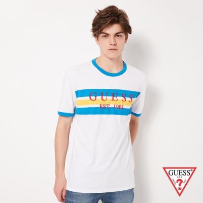 GUESS-男裝-撞色條紋經典LOGO短T,T恤-白藍