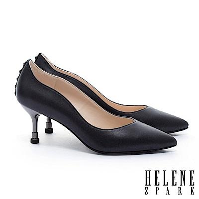 高跟鞋 HELENE SPARK 唯美氣質珍珠造型全真皮尖頭高跟鞋-黑