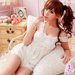 Ayoka性感睡衣甜心任務!柔緞蕾絲二件式睡襯衣-白