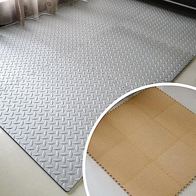 【Abuns】爆殺組~鐵板紋62CM灰色大巧拼地墊12片 +經典軟木地墊18片