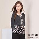 【麥雪爾】時尚豹紋假二件雪紡拼接上衣