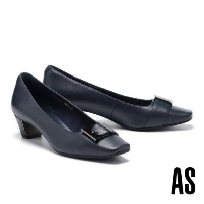 低跟鞋 AS 優雅內斂金屬帶釦羊皮方頭低跟鞋-藍