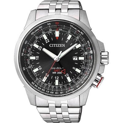 CITIZEN 星辰 PROMASTER 光動能雙時區腕錶-黑/46mm BJ7071-54E