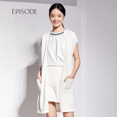 EPISODE - 經典百搭綁帶設計長版針織背心外套(白)