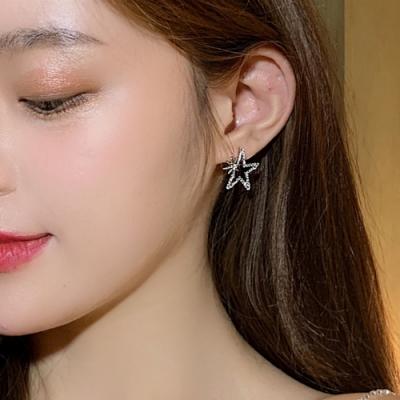 梨花HaNA 韓國925銀針星燦光芒五角星耳環