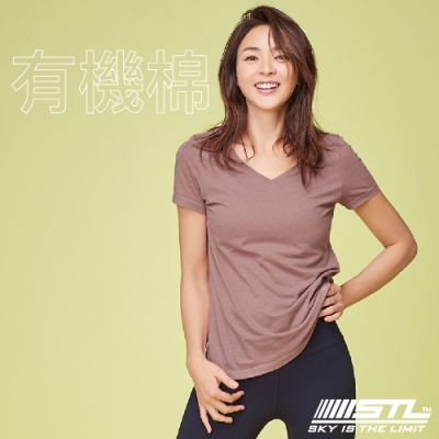 STL Yoga 韓國 Organic有機棉 SS 運動機能 V領短袖上衣 登山/戶外/瑜珈/重量訓練 乾燥玫瑰DryRose