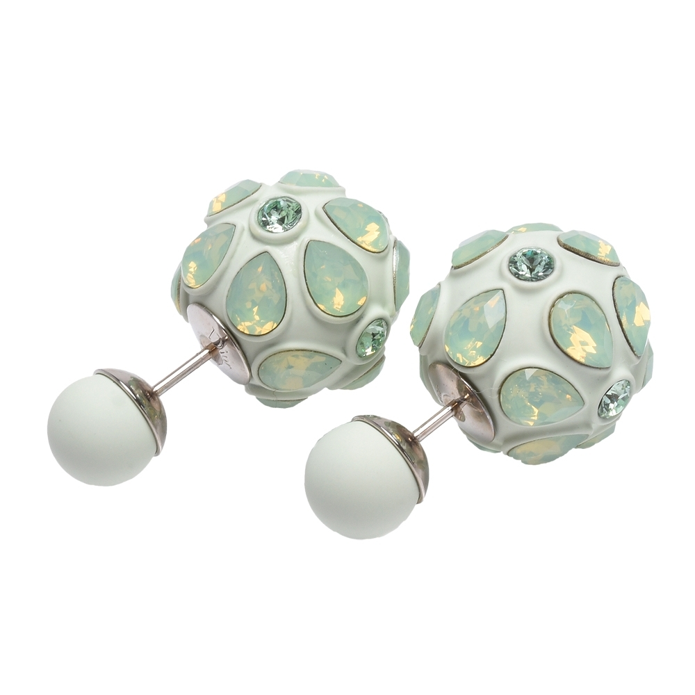 DIOR 經典大小珠琉璃鑲飾造型穿式耳環(蘋果綠)