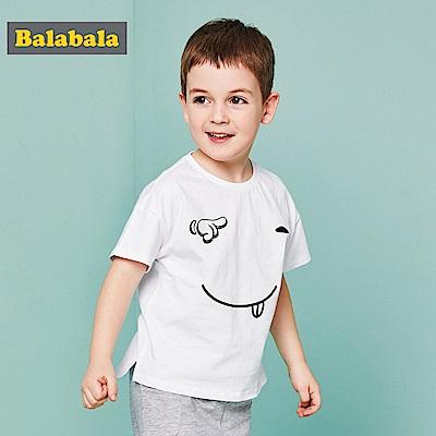 Balabala巴拉巴拉-俏皮大鬼臉印花短袖T恤-男(2色)