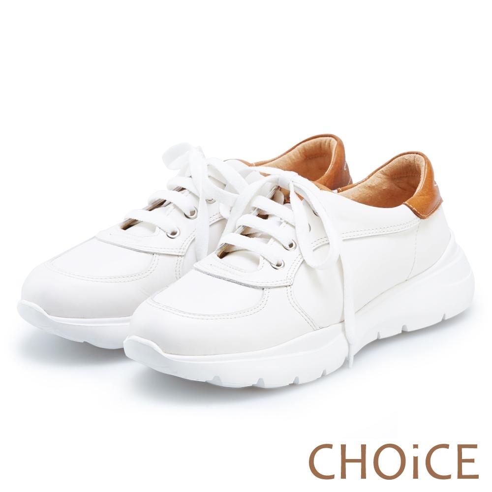 CHOiCE 率性綁帶牛皮厚底休閒鞋 白色