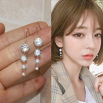 梨花HaNA 韓國925銀針華麗鋯石鑽飾垂綴耳環