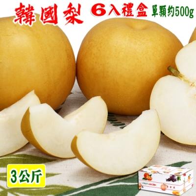愛蜜果 韓國新高梨6入禮盒(3公斤/盒)