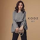 東京著衣-KODZ 優雅知性圓領格紋打褶荷葉袖上衣-S.M.L(共二色)