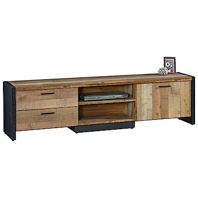文創集 威爾時尚6尺木紋雙色電視櫃/視聽櫃-180x40x50cm免組