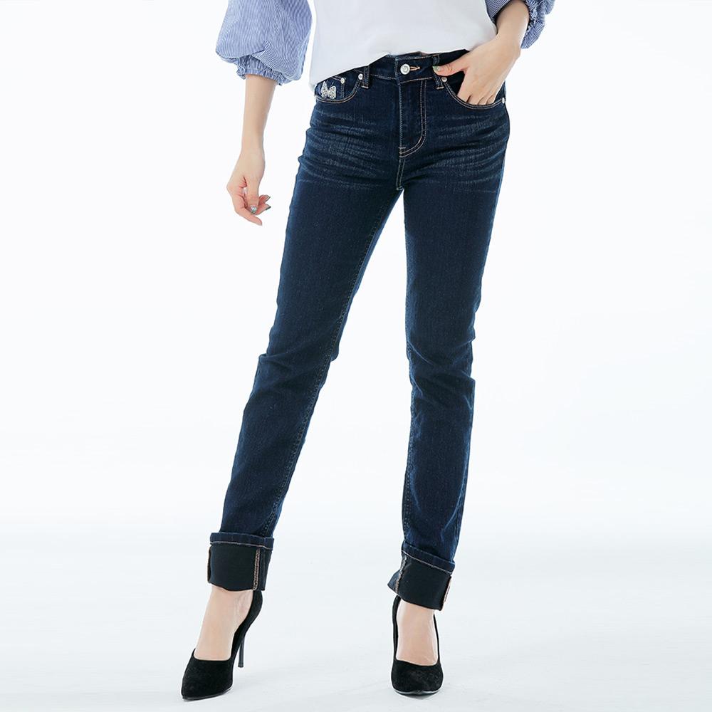 Victoria 中高腰蝴蝶鑲鑽小直筒褲-女-深藍