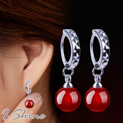I-Shine-正白K-氣質瑪瑙-韓國簍空弧形造型瑪瑙銀色耳針耳環DB40