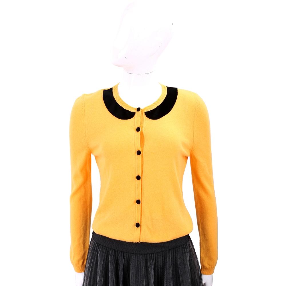 RED VALENTINO 撞色花瓣領黃色開襟羊毛衫