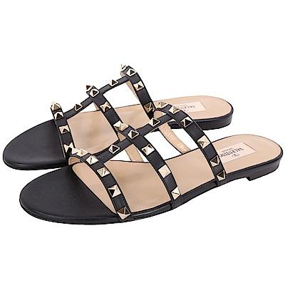 VALENTINO Rockstud 5mm 鉚釘飾小牛皮平底涼鞋(黑色)
