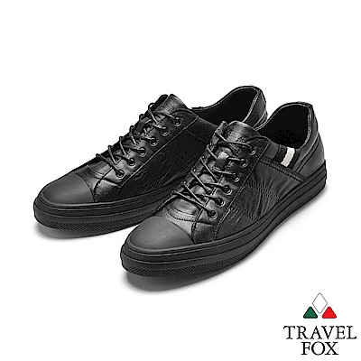 TRAVEL FOX(男)風潮 素人風牛皮街頭運動休閒鞋 -極酷黑