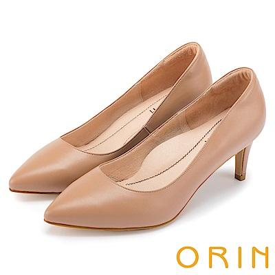ORIN 典雅氣質 簡約素面羊皮尖頭高跟鞋-淺棕