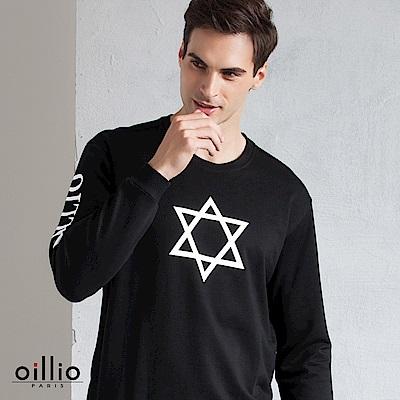 歐洲貴族 oillio 長袖T恤 星形印花 品牌文字 黑色