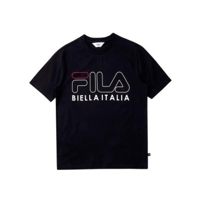 FILA 純棉圓領上衣-黑 1TEU-5502-BK