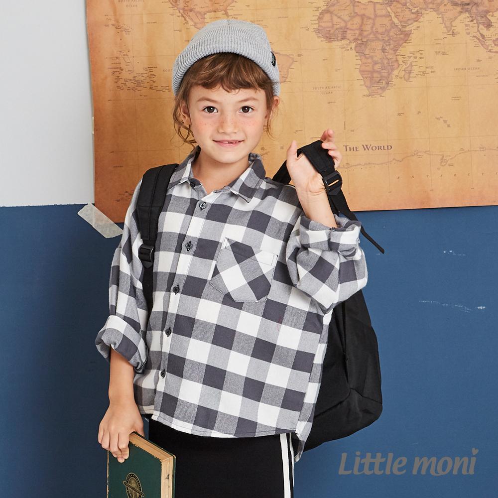 Little moni 格紋寬版襯衫(兩色可選)
