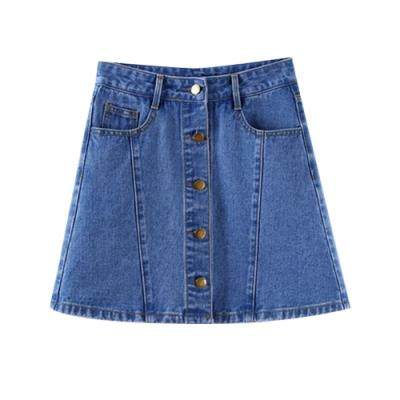 高腰排扣牛仔褲裙 共二色 TATA-(S~XL)