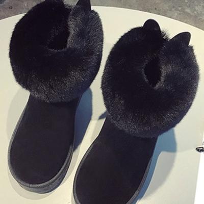 KEITH-WILL時尚鞋館-輕柔甜美俏佳人絨面兔耳雪靴-黑色