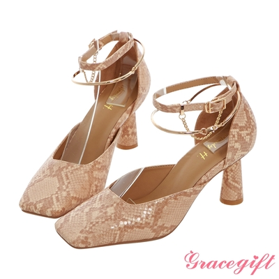 Grace gift X Mandy-聯名異材質雙踝帶復古方頭跟鞋 蛇紋