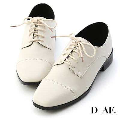 D+AF 紳士品味.復古方頭綁帶牛津鞋*米