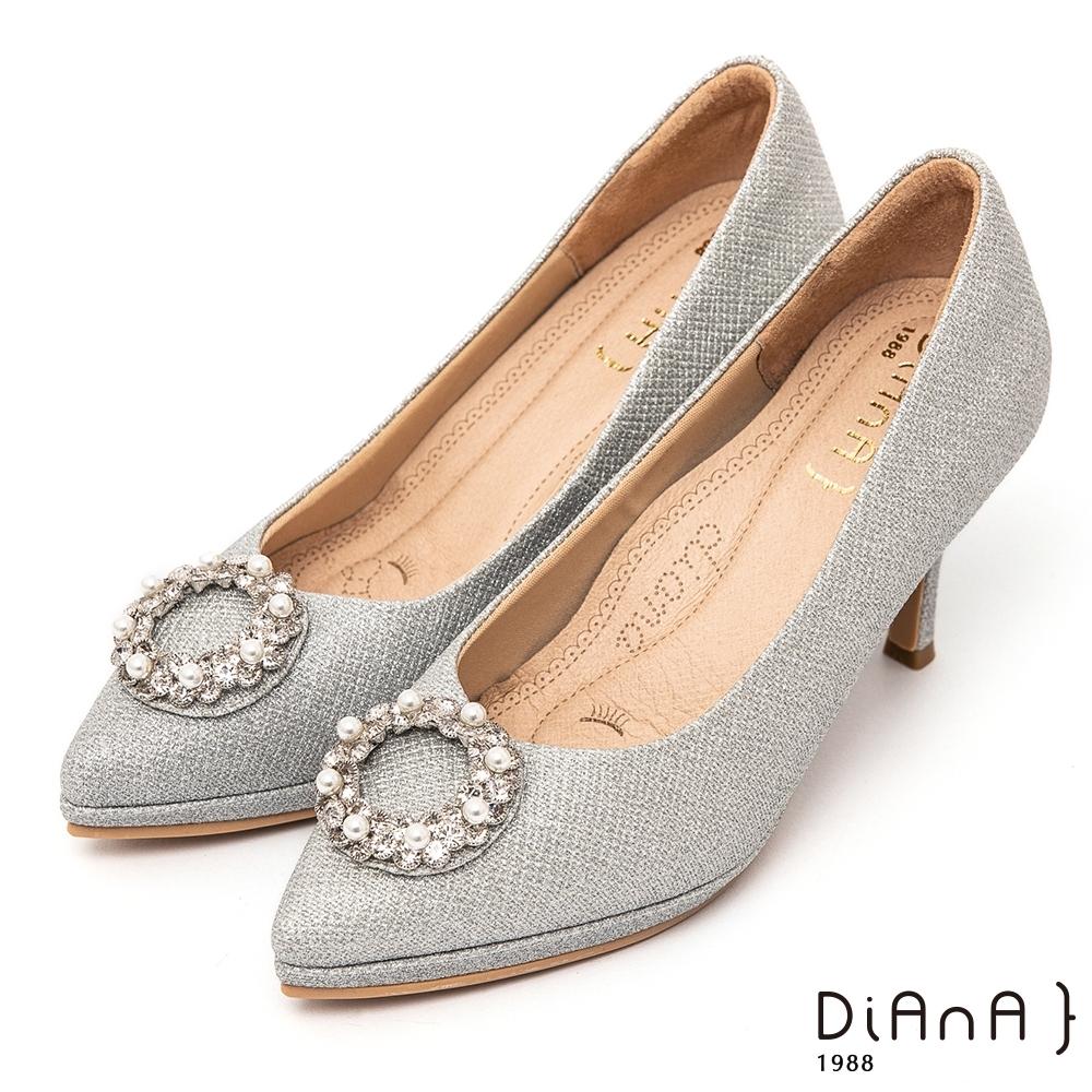 DIANA閃耀星紗水鑽珍珠圓釦 8公分 尖頭細跟高跟鞋-漫步雲端超厚切焦糖美人–銀
