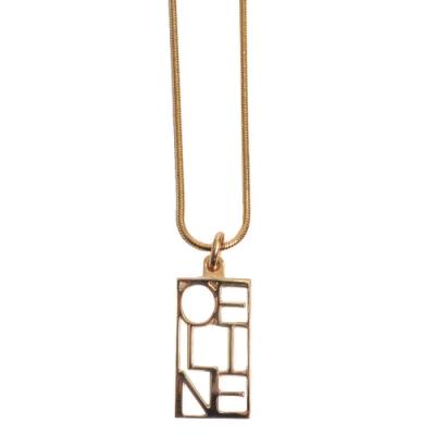 CELINE 品牌字母LOGO造型項鍊(金色)
