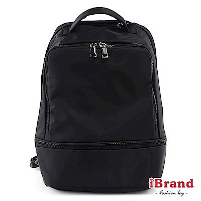 iBrand後背包 率性時尚旅行大開口尼龍後背包-黑色