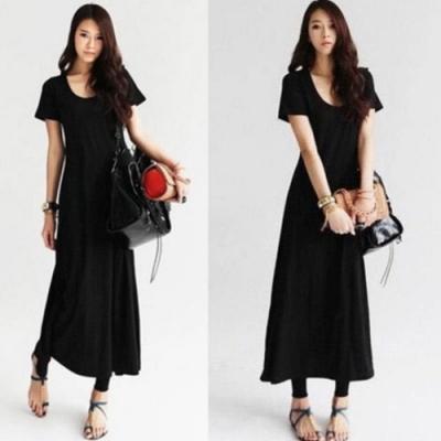 La BellezaV領素色合身加長版彈性棉質連身洋裝