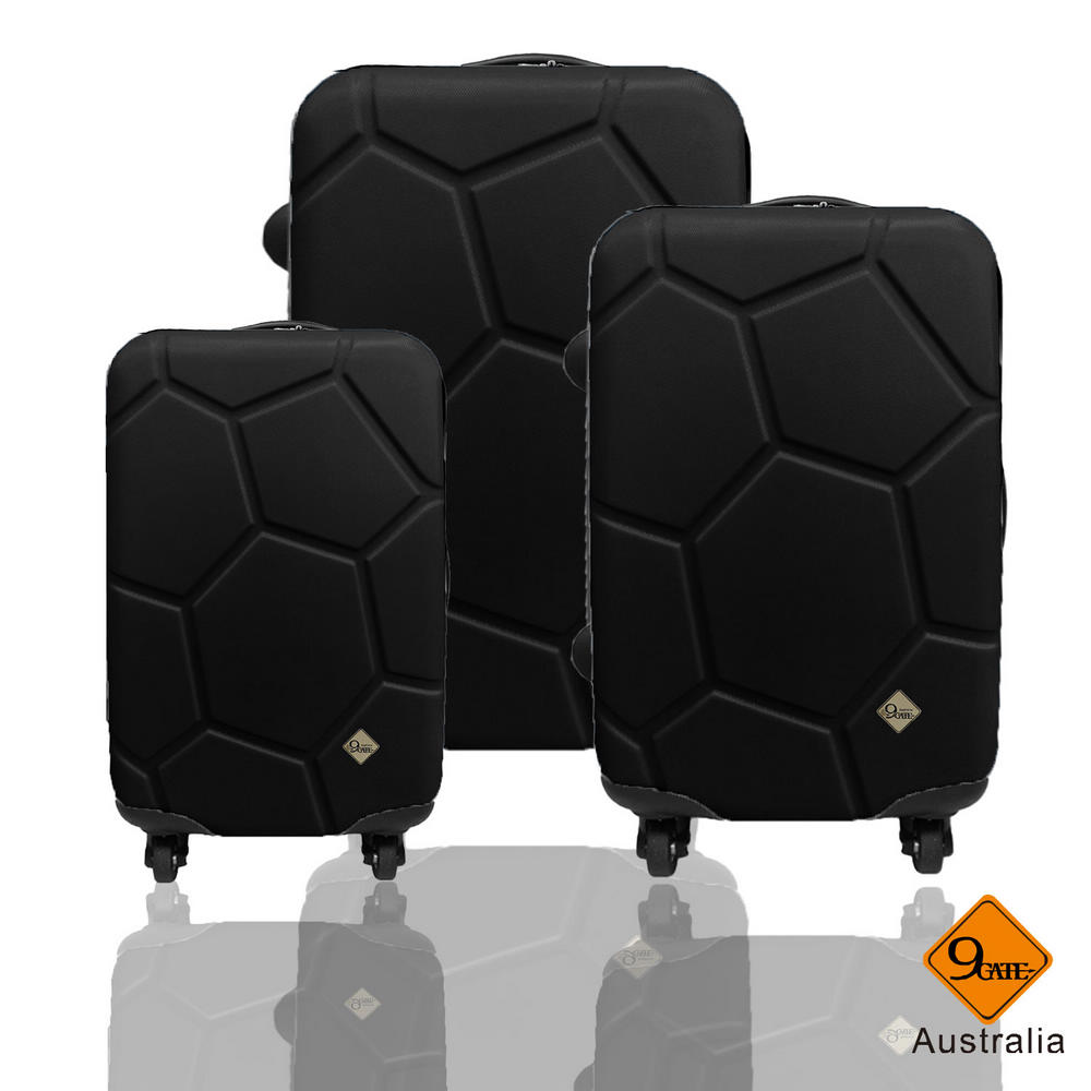 Gate9 足球系列經典三件組28吋24吋20吋 輕硬殼旅行箱行李箱-黑色