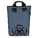 CLATHAS 山茶花裝飾丹寧織布手提後背包-藍色