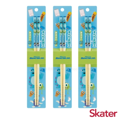 Skater日式竹筷(21cm)怪獸大學3入組