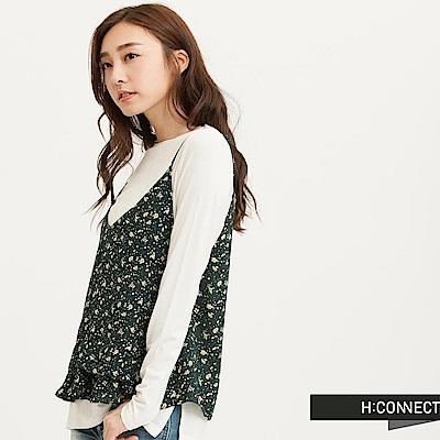 H:CONNECT 韓國品牌 女裝 ~ 細肩傘擺碎花背心~綠 快