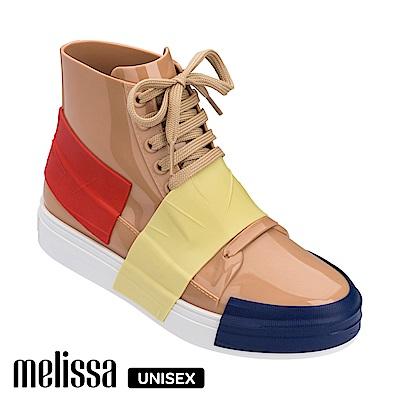 Melissa 潮流Sneaker 高筒休閒鞋-撞色卡其