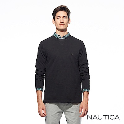 Nautica經典款素色長袖針織衫-黑