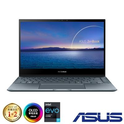 (附M365 15個月)ASUS UX363EA 13吋筆電 (i5-1135G7/16G/512G/EVO平台/OLED觸控螢幕/ZenBook Flip 13/綠松灰)