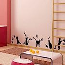 香草花園 手繪動物組合壁貼-俏皮貓2入組