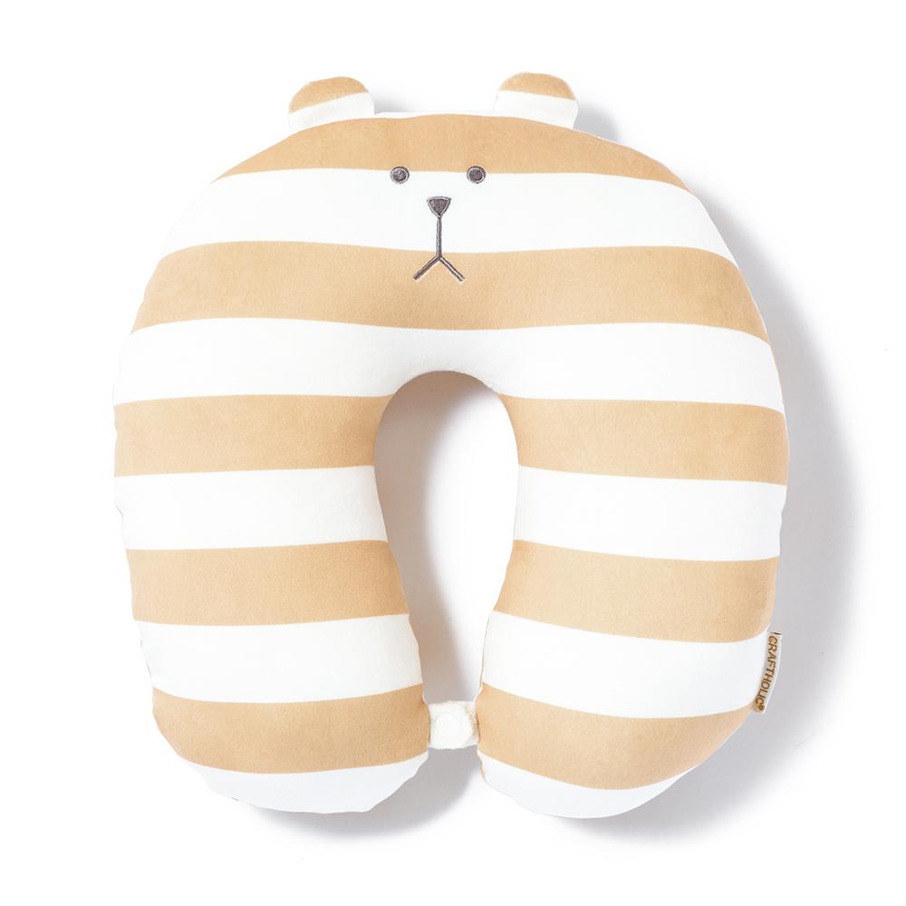 CRAFTHOLIC宇宙人 米黃條紋熊頸枕