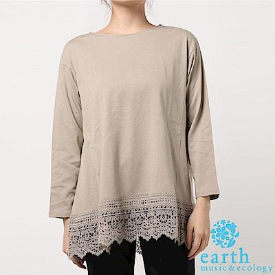 earth music 有機棉鏤空蕾絲下擺拼接長袖T恤