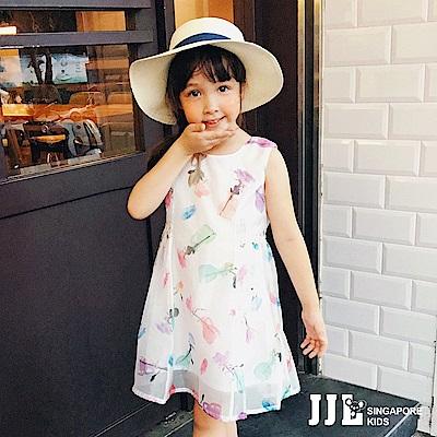 JJLKIDS 甜美玫瑰印花網紗無袖洋裝(白色)