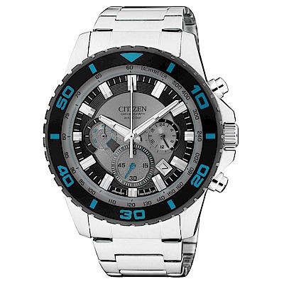 CITIZEN 超越巔峰視距儀三眼石英腕錶(AN8030-58F)-黑x43mm