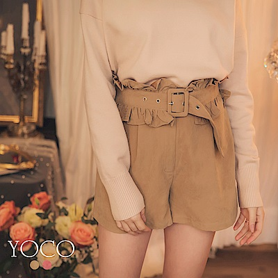 東京著衣-yoco 雅緻美人可拆荷葉腰帶麂皮短褲-S.M.L(共二色)