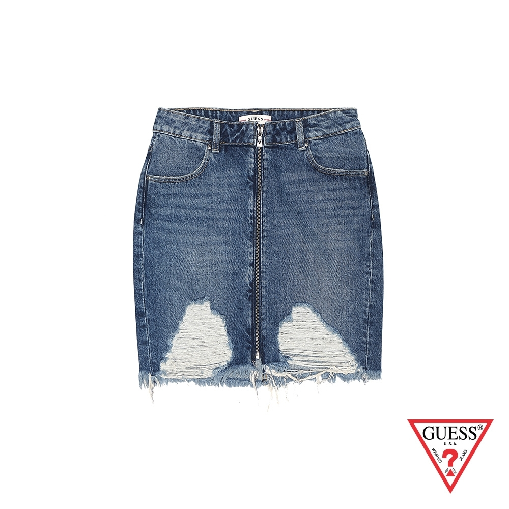 GUESS-女裝-刷破抽鬚牛仔短裙-藍