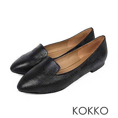 KOKKO - 極柔軟素面羊皮樂福平底鞋-經典黑