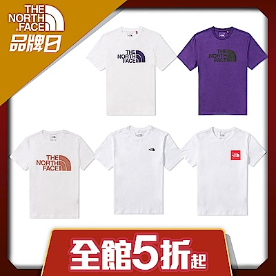 【The North Face】YAHOO獨家限定-北面男女款經典LOGO短袖上衣-5款任選